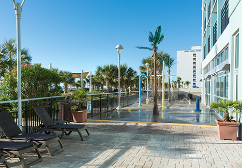 Our oceanfront pool deck is sprinkled with the sounds of laughter and delight as kids enjoy the excitement of our state of the art motion-sensor splash deck.