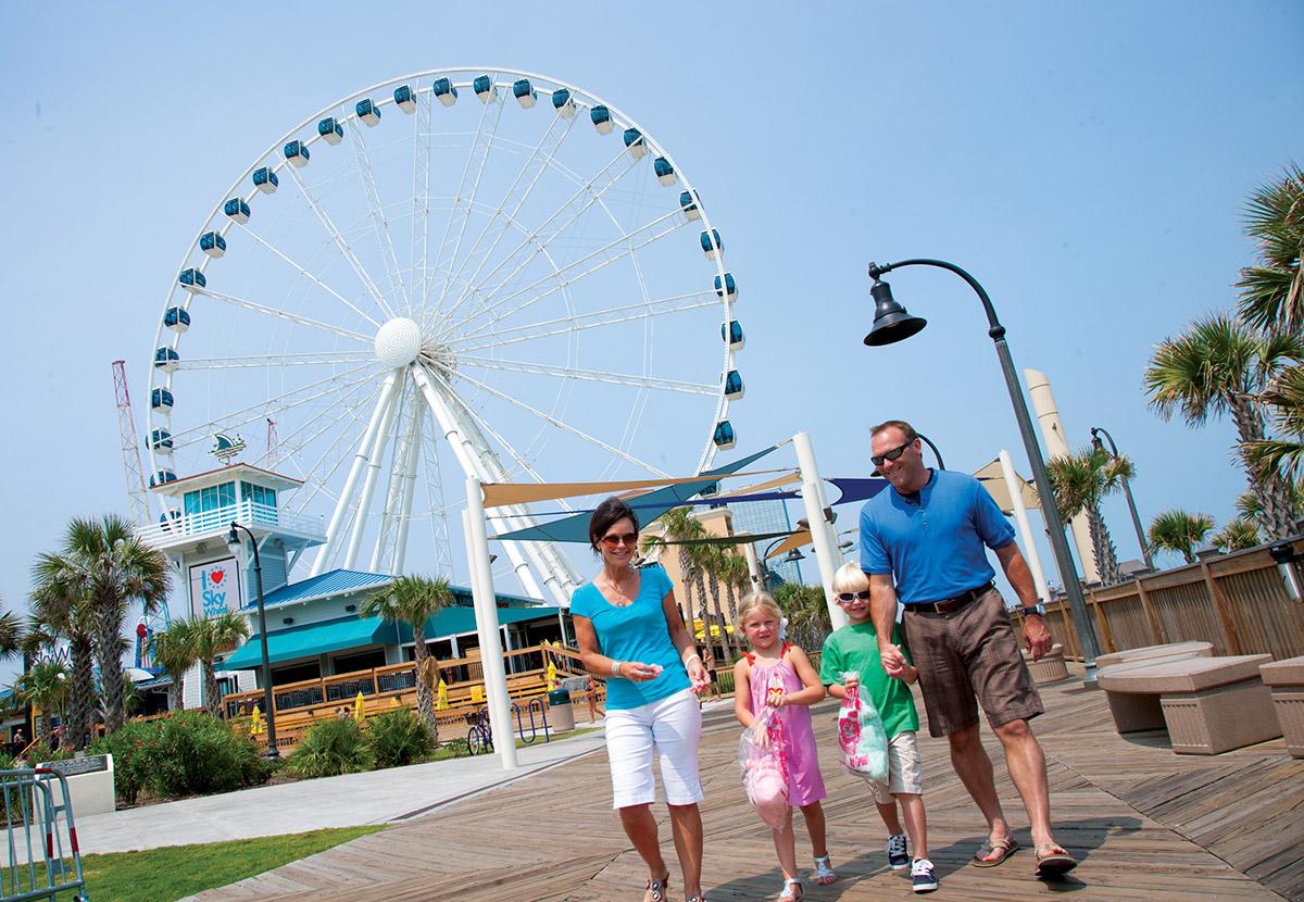 Family walking the Boardwalk